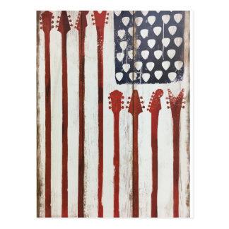 Flagge-patriotisches Gitarren-Musikthema Postkarte