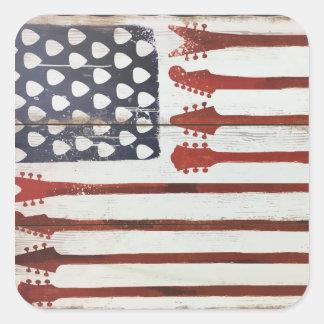 Flagge-patriotisches Gitarren-Musikthema Quadratischer Aufkleber