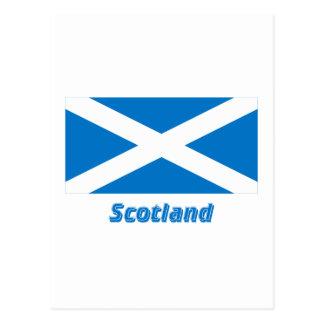 Flagge Schottlands St Andrew mit Namen Postkarte