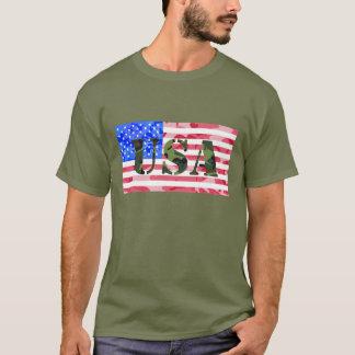 Flagge und Schablone USA Camoflauge T-Shirt
