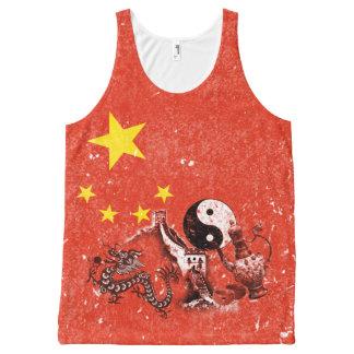 Flagge und Symbole der China ID158 Komplett Bedrucktes Tanktop
