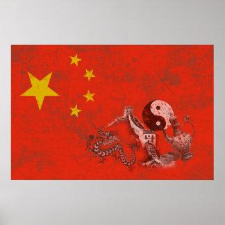 Flagge und Symbole der China ID158 Poster