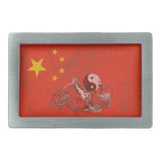 Flagge und Symbole der China ID158 Rechteckige Gürtelschnalle