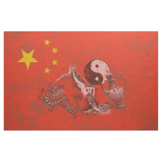 Flagge und Symbole der China ID158 Stoff