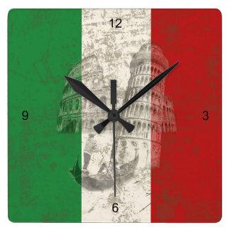 Flagge und Symbole von Italien ID157 Quadratische Wanduhr