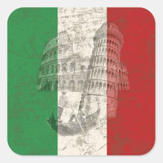 Flagge und Symbole von Italien ID157 Quadratischer Aufkleber