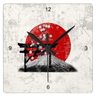 Flagge und Symbole von Japan ID153 Quadratische Wanduhr