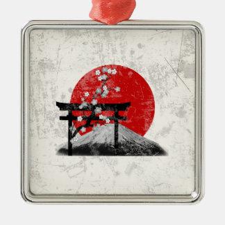 Flagge und Symbole von Japan ID153 Silbernes Ornament
