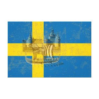 Flagge und Symbole von Schweden ID159 Leinwanddruck