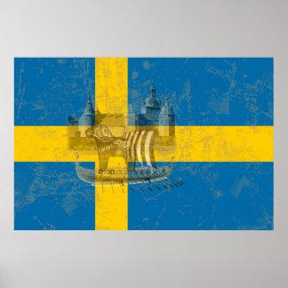 Flagge und Symbole von Schweden ID159 Poster