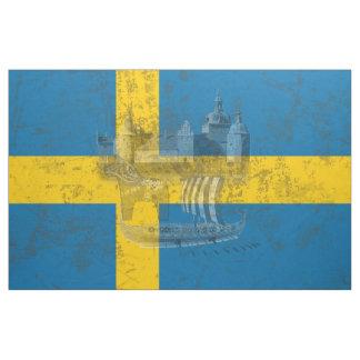 Flagge und Symbole von Schweden ID159 Stoff