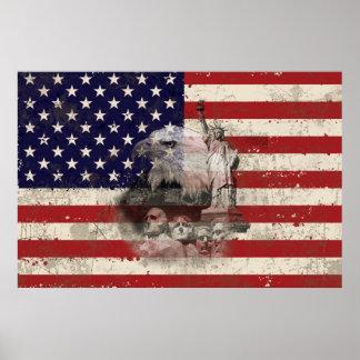 Flagge und Symbole von Vereinigten Staaten ID155 Poster