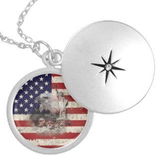 Flagge und Symbole von Vereinigten Staaten ID155 Runde Medaillon Halskette