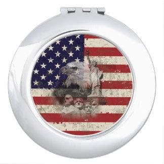 Flagge und Symbole von Vereinigten Staaten ID155 Taschenspiegel