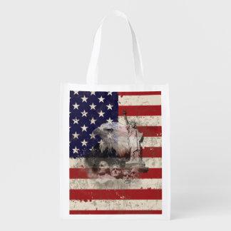 Flagge und Symbole von Vereinigten Staaten ID155 Wiederverwendbare Einkaufstasche
