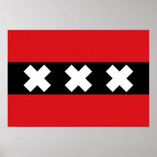 Flagge von Amsterdam Poster