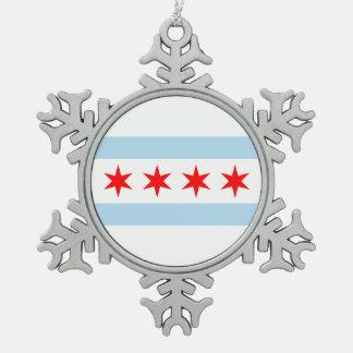 Flagge von Chicago, Illinois Schneeflocken Zinn-Ornament