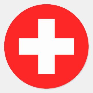 Flagge von der Schweiz Runder Aufkleber