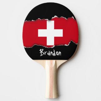Flagge von der Schweiz Tischtennis Schläger