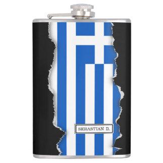 Flagge von Griechenland Flachmann