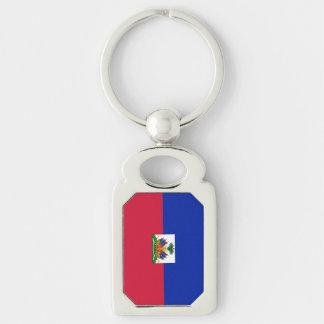 Flagge von Haiti Silberfarbener Rechteckiger Schlüsselanhänger