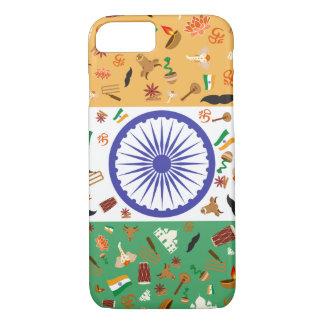 Flagge von Indien mit kulturellen Einzelteilen iPhone 8/7 Hülle