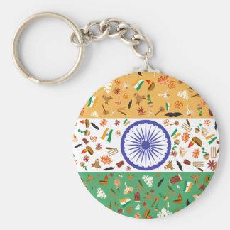 Flagge von Indien mit kulturellen Einzelteilen Standard Runder Schlüsselanhänger