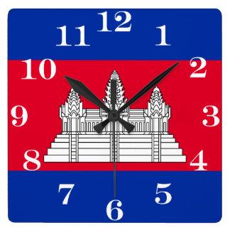 Flagge von Kambodscha Quadratische Wanduhr