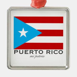 Flagge von Puerto Rico Quadratisches Silberfarbenes Ornament