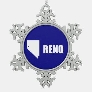 Flagge von Reno, Nevada Schneeflocken Zinn-Ornament