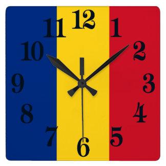Flagge von Rumänien Quadratische Wanduhr