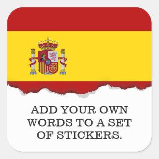 Flagge von Spanien Quadratischer Aufkleber