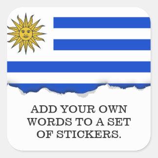 Flagge von Uruguay Quadratischer Aufkleber