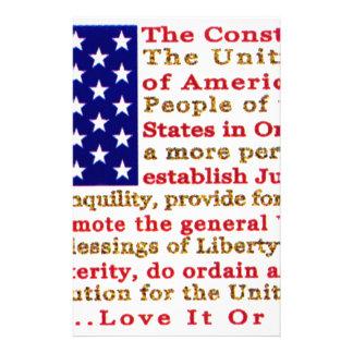 Flagge von USA amerikanisch mit Wörtern die Briefpapier