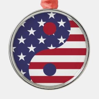 Flaggen-abstrakte Kunst-Asiats-Balance Yang Yin Silbernes Ornament