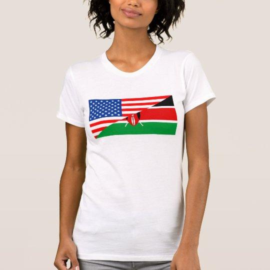 Flaggen-Amerika-Symbol Landes USA Kenia halbes T-Shirt