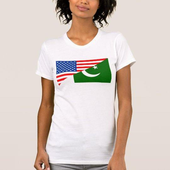 Flaggen-Amerika-Symbol Landes USA Pakistan halbes T-Shirt
