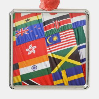 Flaggen der Welt Quadratisches Silberfarbenes Ornament
