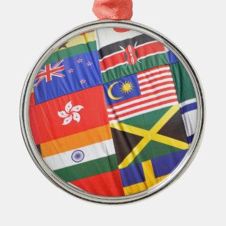 Flaggen der Welt Rundes Silberfarbenes Ornament