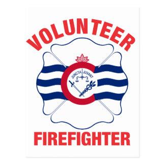 Flaggen-Freiwillig-Feuerwehrmann-Kreuz Postkarte