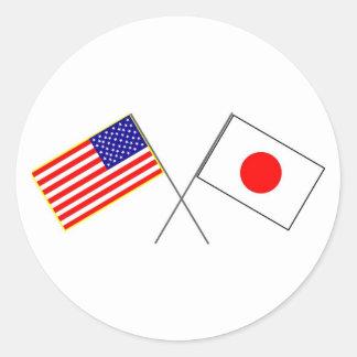 Flaggen USA JAPAN Runder Aufkleber