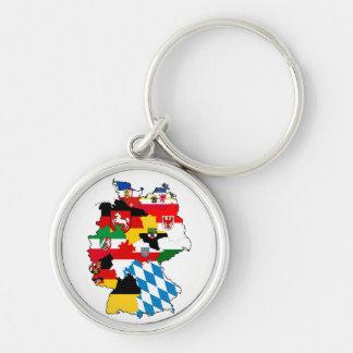 Flaggenkarten-Regionsprovinz Deutschland-Landes Silberfarbener Runder Schlüsselanhänger