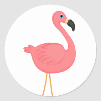 Flamant rose mignon sticker rond
