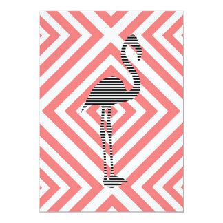 Flamingo - abstraktes geometrisches Muster - Rosa Karte