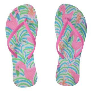 Flamingo-Dschungel-Party-Purzelbäume Flip Flops