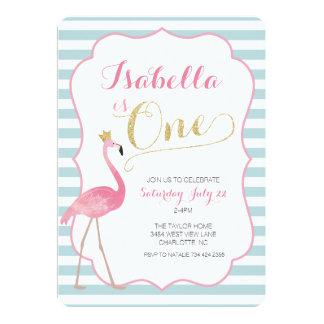 Flamingo-erste Geburtstags-Einladung 12,7 X 17,8 Cm Einladungskarte