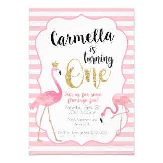 Flamingo-erste Geburtstags-Einladung Karte