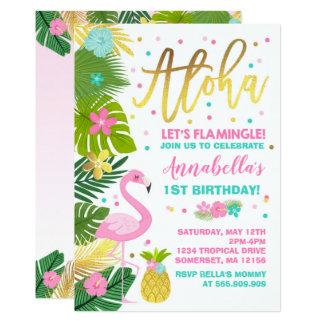 Flamingo-Geburtstags-Einladung aktuelles Luau Karte