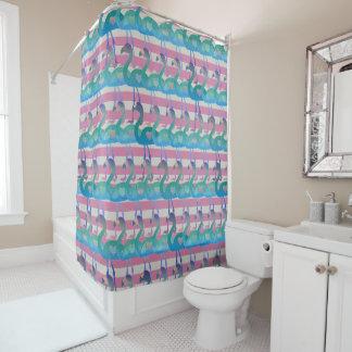 Flamingo-Herz-Muster-Duschvorhang (MultPinkHt) Duschvorhang