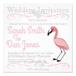Flamingo-Hochzeits-Einladung (kundengerecht) Karte